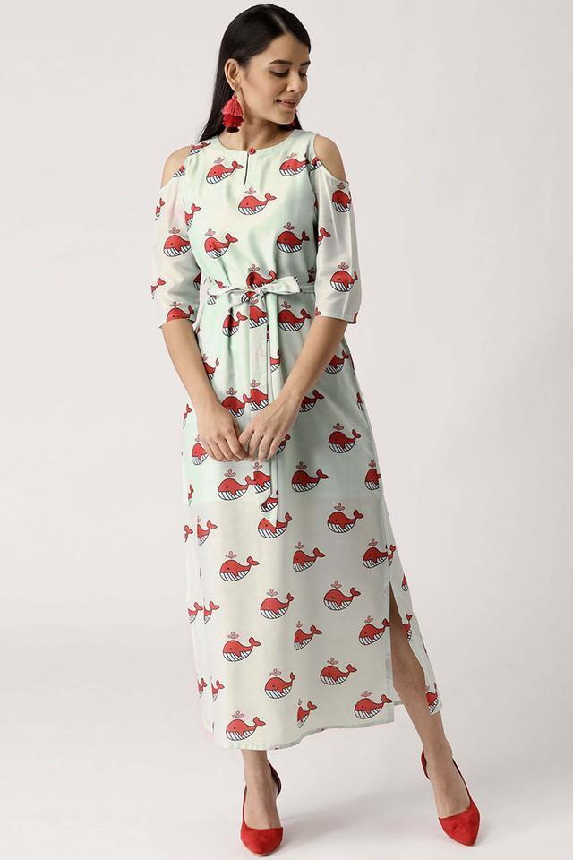Womens Key Hole Neck Muslin Printed Maxi Dress
