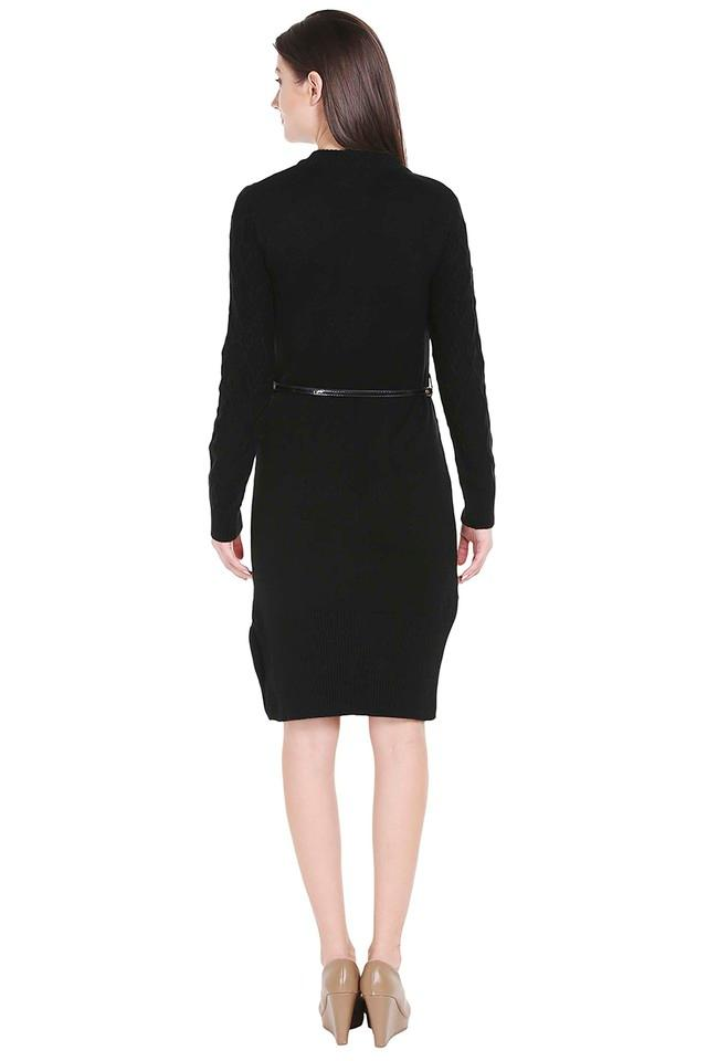 Womens Round Neck Knitted Pattern Sweater Dress