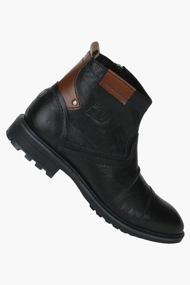 3143102edb2 Buy ID Mens Leather Zipper Closure Boots | Shoppers Stop