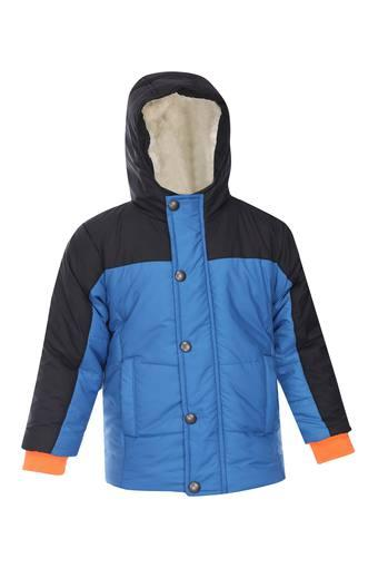 Boys Hooded Neck Colour Block Jacket