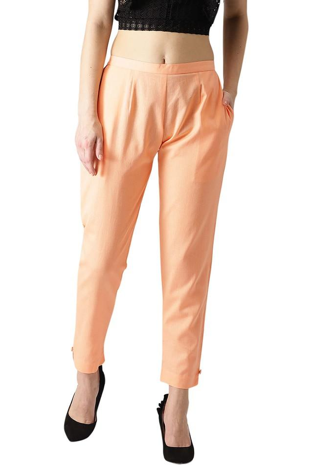 Womens Cotton Solid Trouser