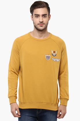 VETTORIO FRATINIMens Round Neck Solid Sweatshirt