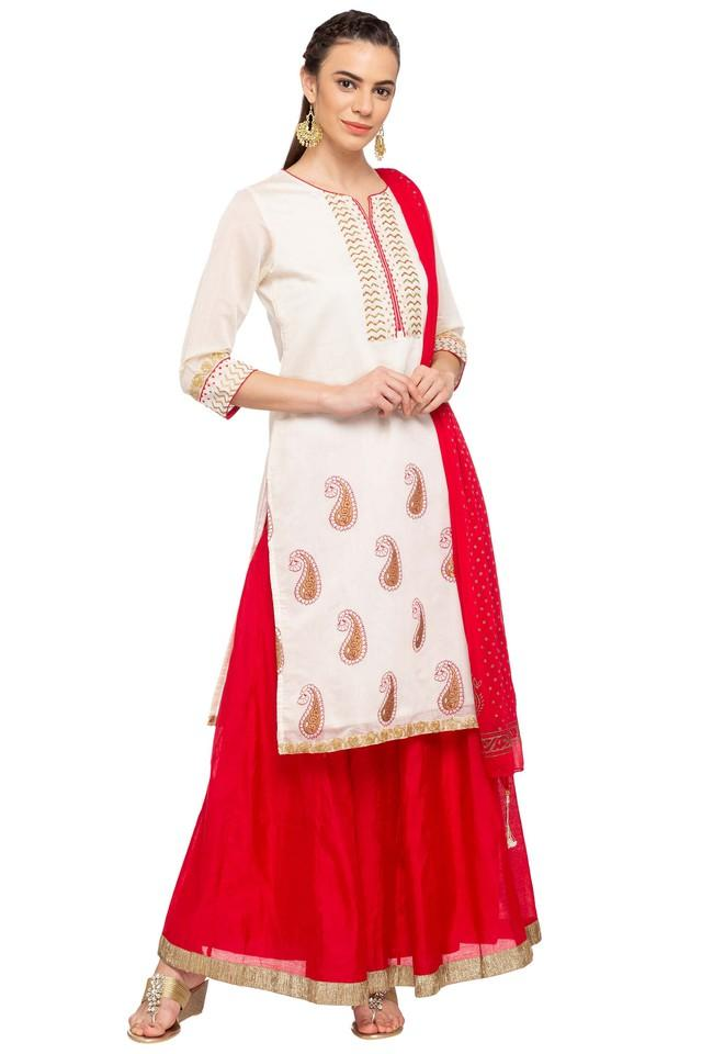 Womens Notched Embellished Kurta and Skirt Set