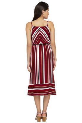 Womens Strappy Neck Stripe Midi Dress