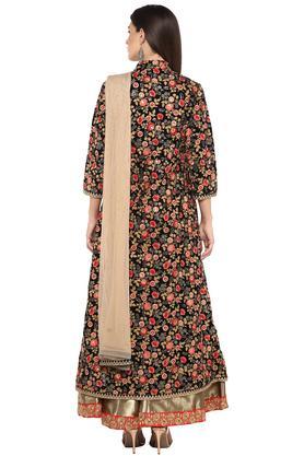 Womens Mandarin Neck Embroidered Jacket Skirt Set