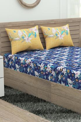 Marvella Floral Print Fitted Double Bed Sheet with 2 Pillow Covers