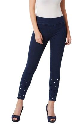 Womens Ultra Skinny Fit Rinse Wash Embellished Jeggings