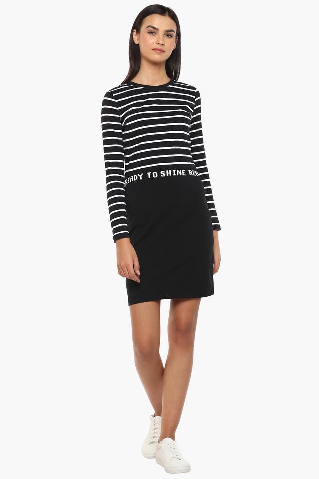 Womens Round Neck Stripe T-Shirt Dress