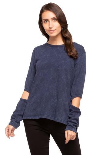 Womens Round Neck Slub Sweatshirt