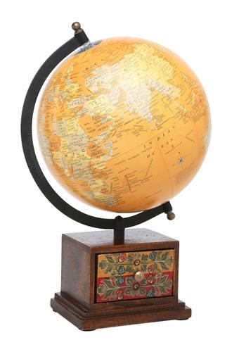 Printed Tuhin Globe with Square Drawer