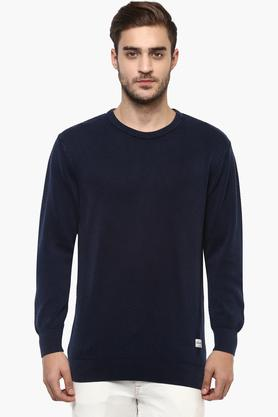 FLYING MACHINE Mens Round Neck Solid Sweater