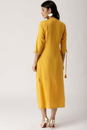 Womens Mandarin Neck Self Pattern A-Line Dress