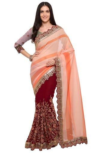 Womens Colour Block Embroidered Saree with Blouse Piece