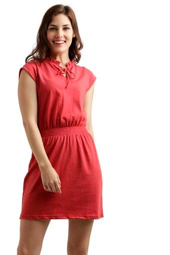 Womens Tie Up Neck Solid A-Line Dress