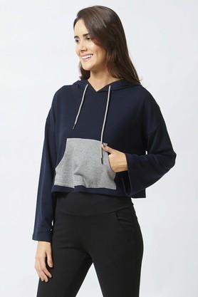 MYSTERE PARISWomens Hooded Neck Solid Sweatshirt