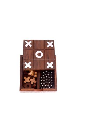 2 In 1 Solitaire & Tic Tac Toe Game In Wood Phuli Gola Aur Buddhijaal