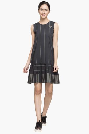 Womens Round Neck Stripe Drop Waist Dress