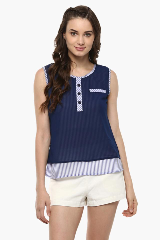 Womens Striped Layered Top