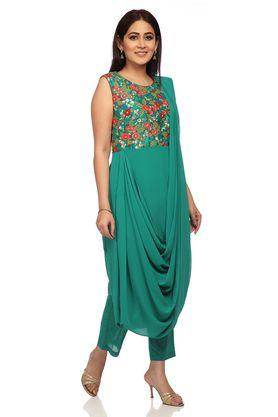 Womens Round Neck Embroidered Saree Drape Kurta and Pants Set