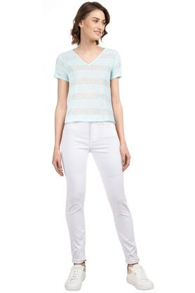 Womens V Neck Striped Top