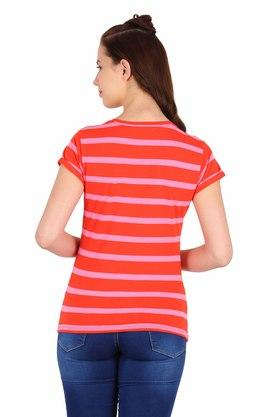 Womens Round Neck Stripe Top