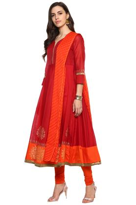 Womens V Neck Printed Churidar Suit