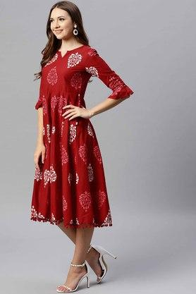 Womens Fit and Flare Round Neck Printed Midi Dress