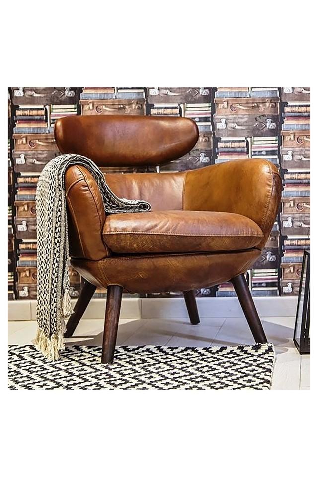 Brown Modern Accent Chair with wooen legs