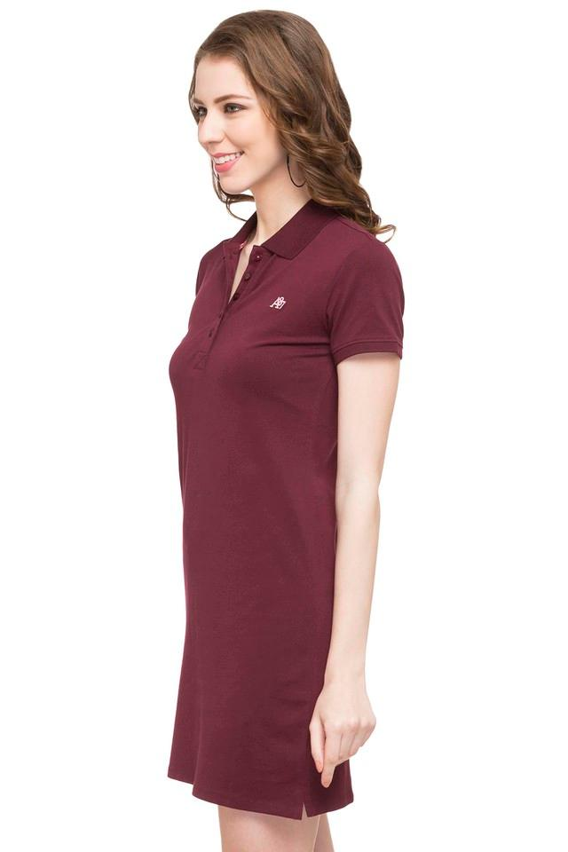3b27831e528 Buy AEROPOSTALE Womens Polo Neck Solid T-Shirt Dress