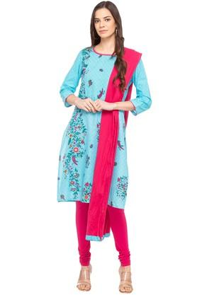 STOP Womens Round Neck Printed Churidar Suit