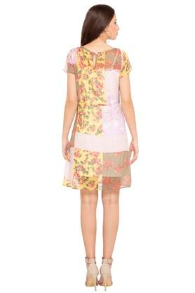 Womens Round Neck Printed A-Line Dress