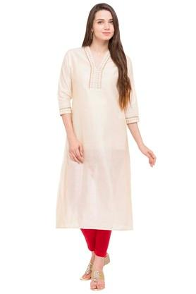 KASHISH Womens V-Neck Embroidered Kurta