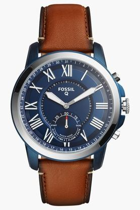 FOSSIL Mens Q Grant Light Brown Leather Hybrid Smart Watch - FTW1147