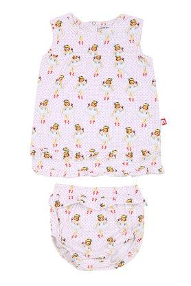 Girls Round Neck Printed Dress and Briefs Set