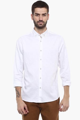 Mens Buttondown Collar Self Pattern Shirt