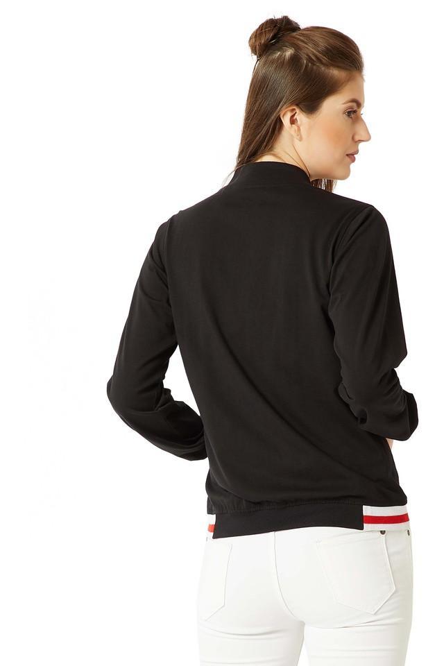 Womens Solid Rib Bomber Jacket