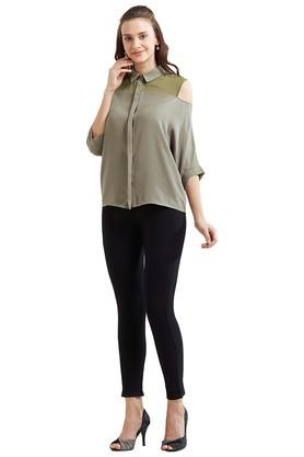 Womens Cold Shoulder Sleeves Solid Shirt