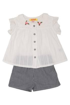 Girls Peter Pan Collar Perforated Top and Checked Shorts