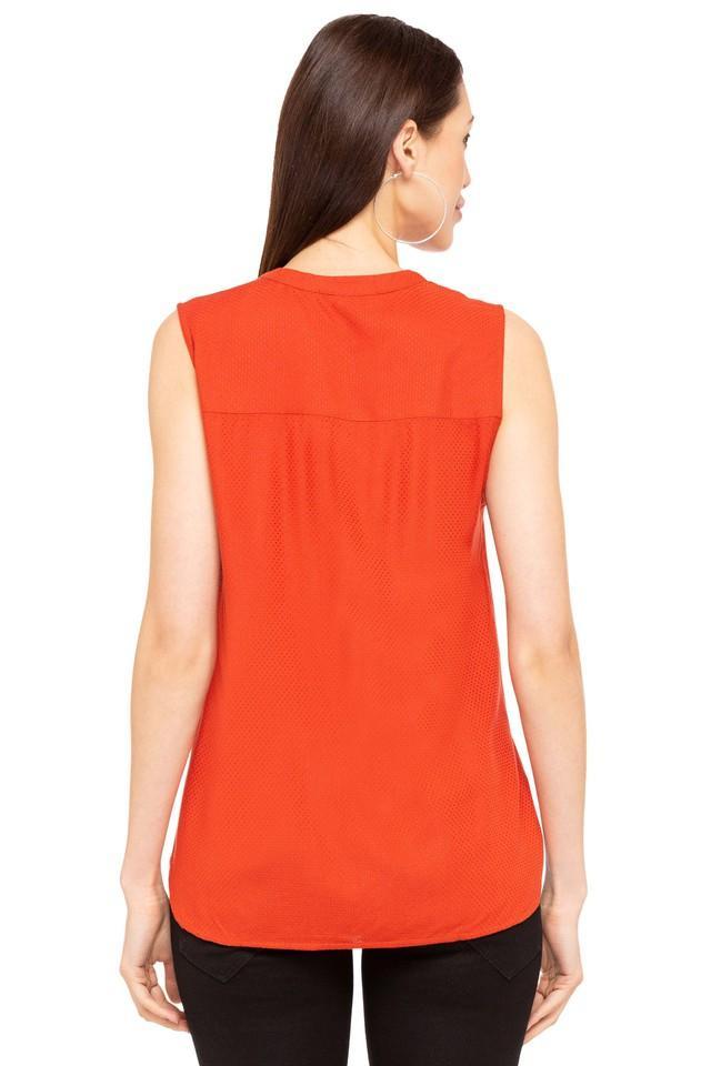 Womens Mandarin Neck Self Pattern Top