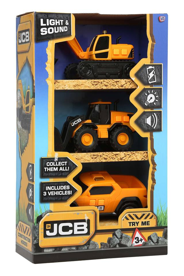 Kids JCB Light and Sound Truck Toy - Set of 3