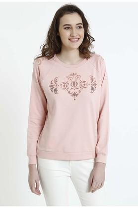 COVER STORYWomens Round Neck Self Pattern Sweatshirt