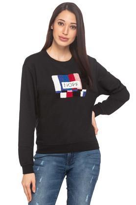 ONLYWomens Round Neck Applique Sweatshirt