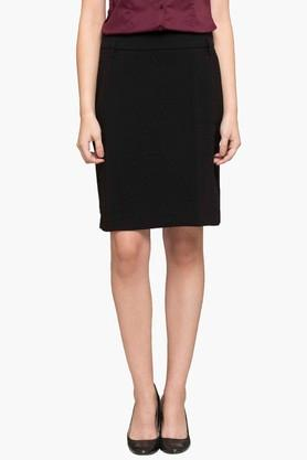 ALLEN SOLLY Womens Solid Straight Knee Length Skirt