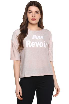 Womens Round Neck Shimmer T-Shirt