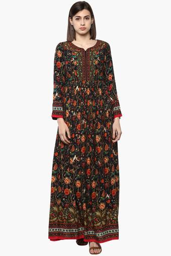 11bd64fd4f508 Buy BIBA Womens Notched Neck Floral Print Maxi Dress | Shoppers Stop