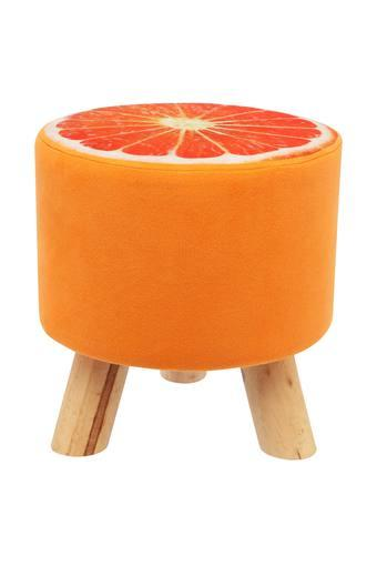 Orange Printed Round Stool