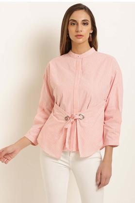Womens Mandarin Neck Stripe Shirt