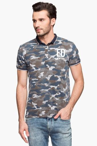 b8d2e184 Buy ED HARDY Mens Short Sleeves Camouflage Polo T-Shirt   Shoppers Stop