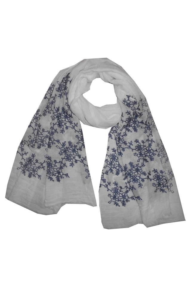 Womens Solid Embroidered Scarf