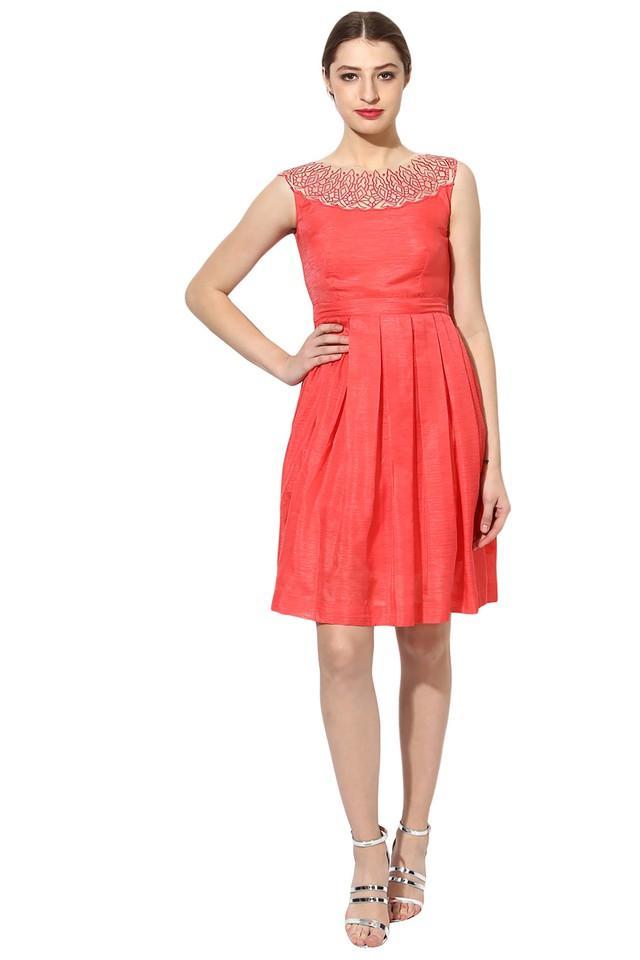 Womens Round Neck Slub Flared Dress
